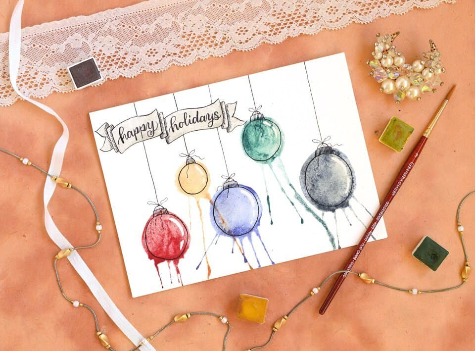 watercolor christmas cards tutorial