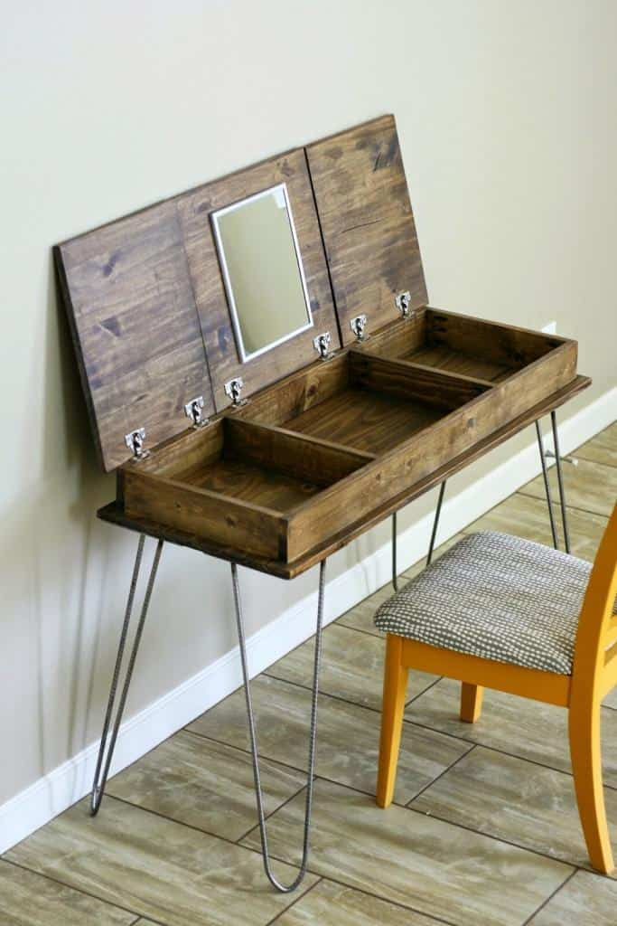 hidden storage diy hairpin vanity