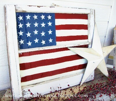 Painted Glass American Flag