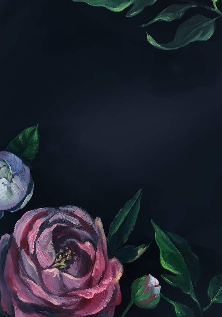 Acrylic painting flower on dark background