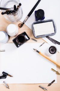 Paper, ink and calligraphy pens. Lettering workshop details