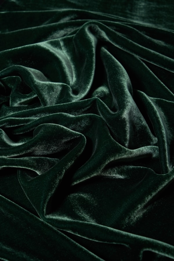 luxurious and soft waves of green velvet