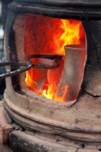 Pottery kiln made from clay
