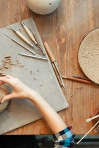 clay sculpting with tools