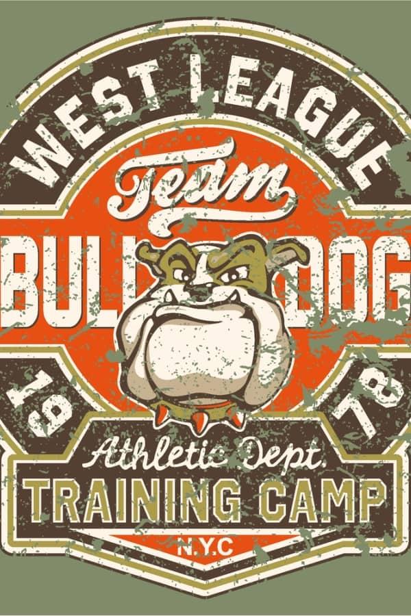 Bulldog football team vinyl t shirt