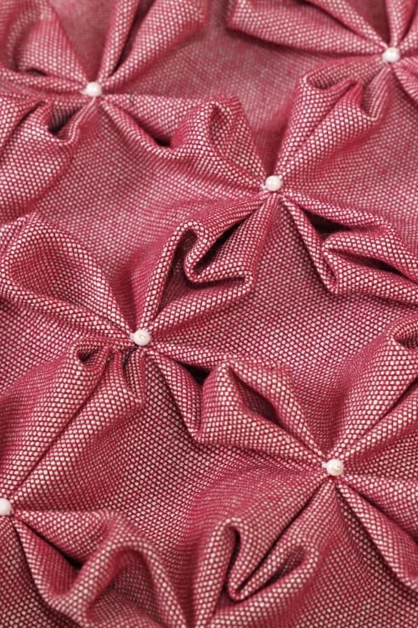 pink smocked fabric